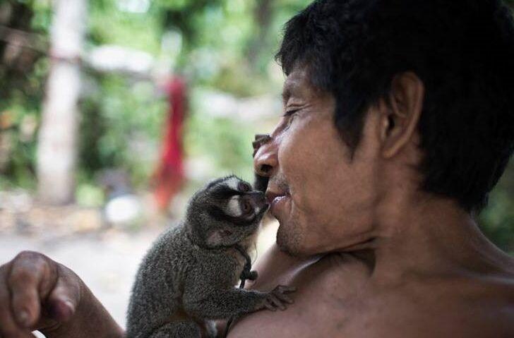 巴西一个游牧部落 靠狩猎为生女人们会哺乳动物幼崽