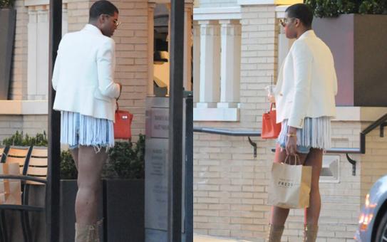 约翰逊之子外出购物流苏上衣超短裤少女范儿(图)