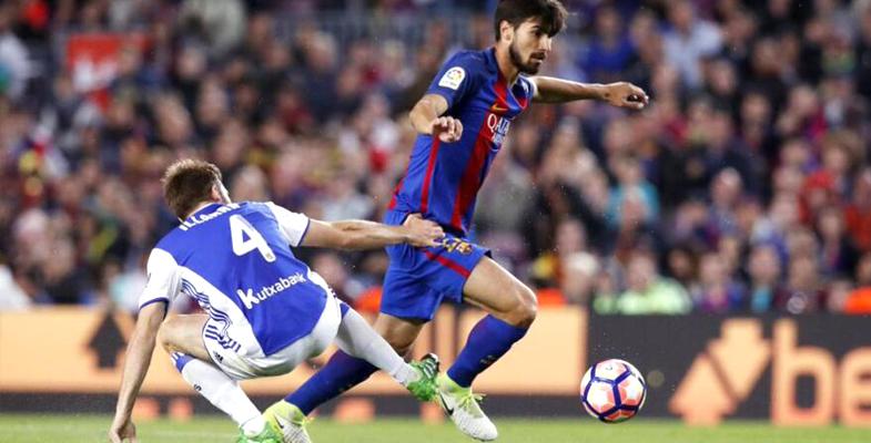 西甲联赛第32轮:巴塞罗那主场3-2战胜皇家社会