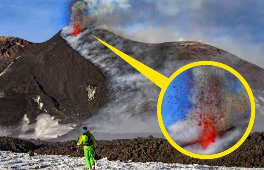 热爱滑雪着寻刺激!埃特纳活火山附近惊险滑雪