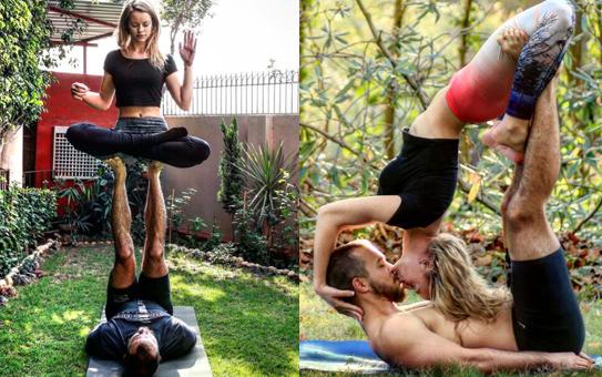 瑜伽爱好者练着瑜伽把婚求 解锁秀恩爱姿势!(图)