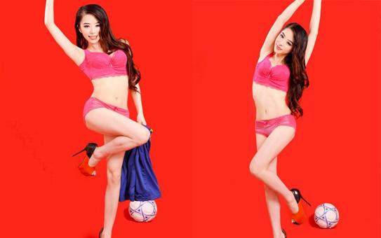 模特袁颖芬化身足球宝贝拍写真 长腿巨乳皮肤白皙