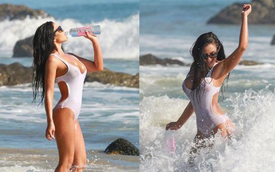 嫩模瓦儿Val Fit现身海滩拍广告 上演湿身诱惑(图)