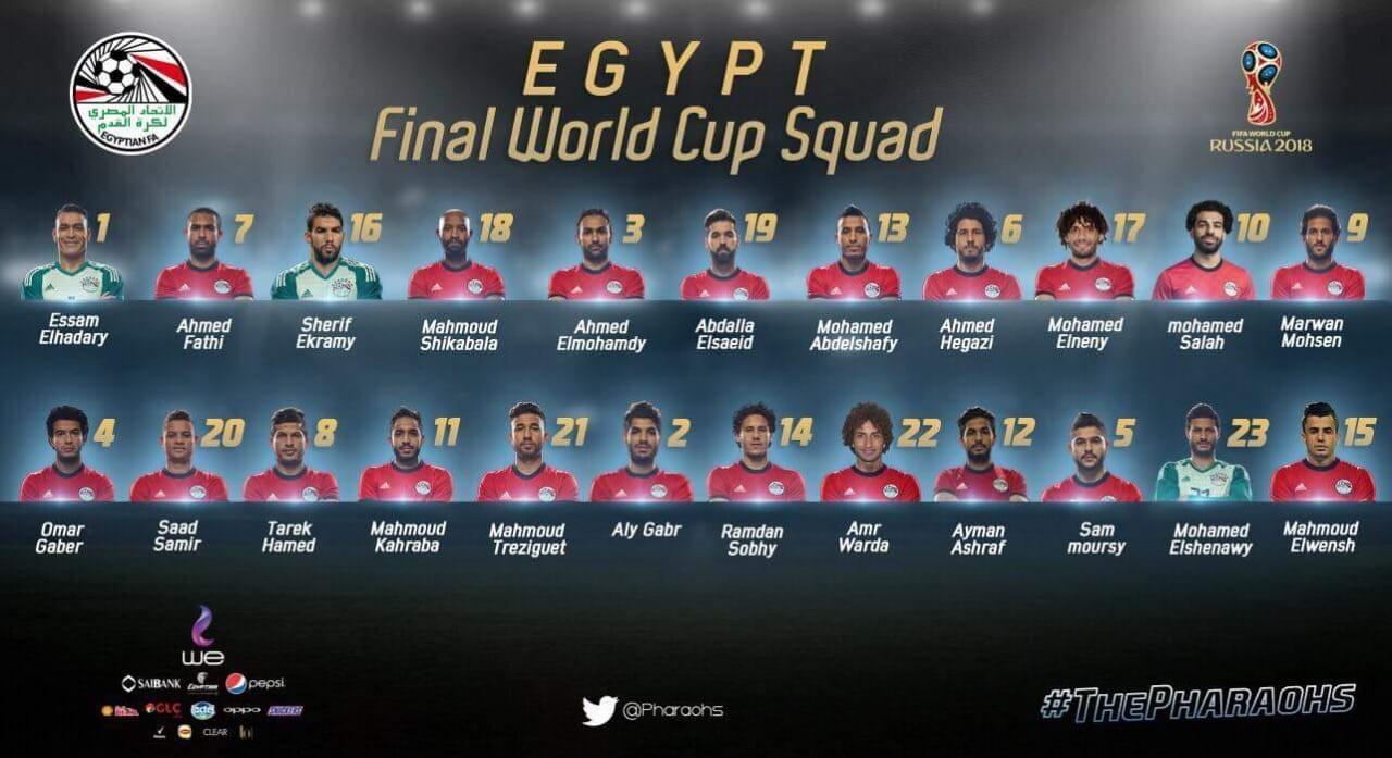 埃及国家队2018世界杯23人大名单:萨拉赫带伤入围 -