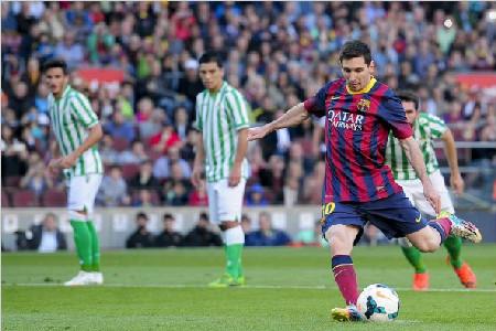 全场集锦:巴塞罗那3-1贝蒂斯 梅西两球内马尔造点