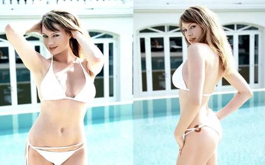 足球宝贝安娜-法尔奇半裸裹纱拍性感写真秀火辣身材